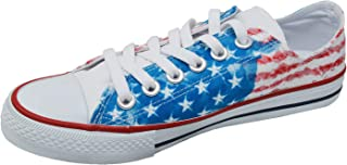 Ish Original Official Women USA Flag Low Top Rubber Sole Casual Canvas Sneakers Shoes