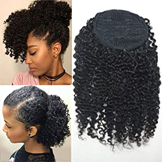 BLUPLE Afro Kinky Curly 3B 3C Clip in Ponytails Extensions Natural Color Human Hair Drawstring Puff Hairpiece Clip On Top Closure Ponytail 120g for African American(16 inches, Afro Kinky Curly 3B 3C)