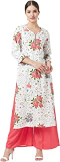 Tissu Women's White & Pink Floral Printed Kurta With Palazzos
