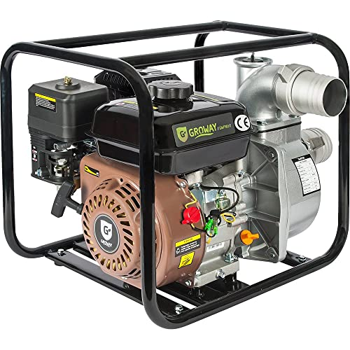 "Groway GWP 80 - Motobomba a gasolina de 4.85 Kw, caudal max 60.000 L/h, 3"""