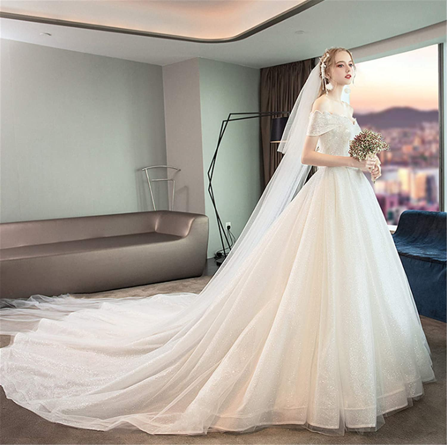 Wedding Dress,Girl Princess Strapless Backless Stylish Wedding Dress Perfect Line Dragged Big Trailing with Lace