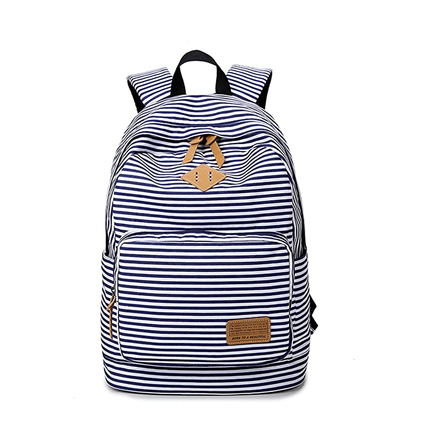 YQWEL Striped Canvas Backpack Girls School Bag Women Casual Travel Daypack (Blue)