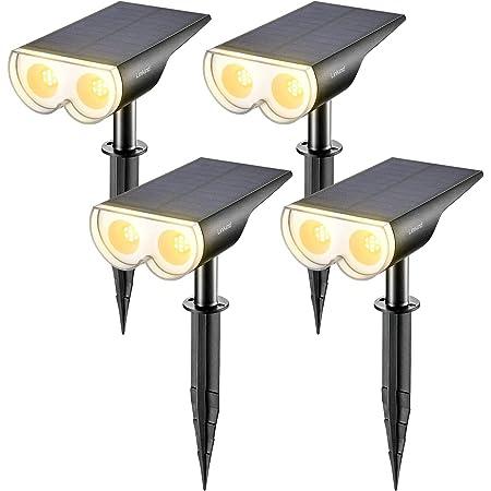Linkind Lámparas solares LED, tecnología de sensor Lámpara solar, luz de pared exterior IP67 a prueba de agua 650lm 3000K Luz solar blanca cálida, foco recargable, paquete de 4