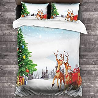 Christmas Duvet Cover Santa 3 Pieces Duvet Cover Set Snow Covered Christmas Village with Cartoon Santa on His Sleigh Big Tree and Boxes 3 Piece(1 Duvet Cover+2 Pillowcases),Multicolor