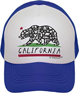 JP DOoDLES California Bear Flag Hat Kids Trucker Hat. Baseball Mesh Back Cap fits Baby, Toddler and Youth