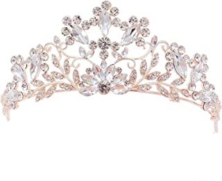 SNOWH Wedding Crowns and Tiaras for Women - Pageant Princess Tiara Headband Royal Bridal Crown Jewelry Costume Party Hair Accessories with Gemstones, Rose Gold