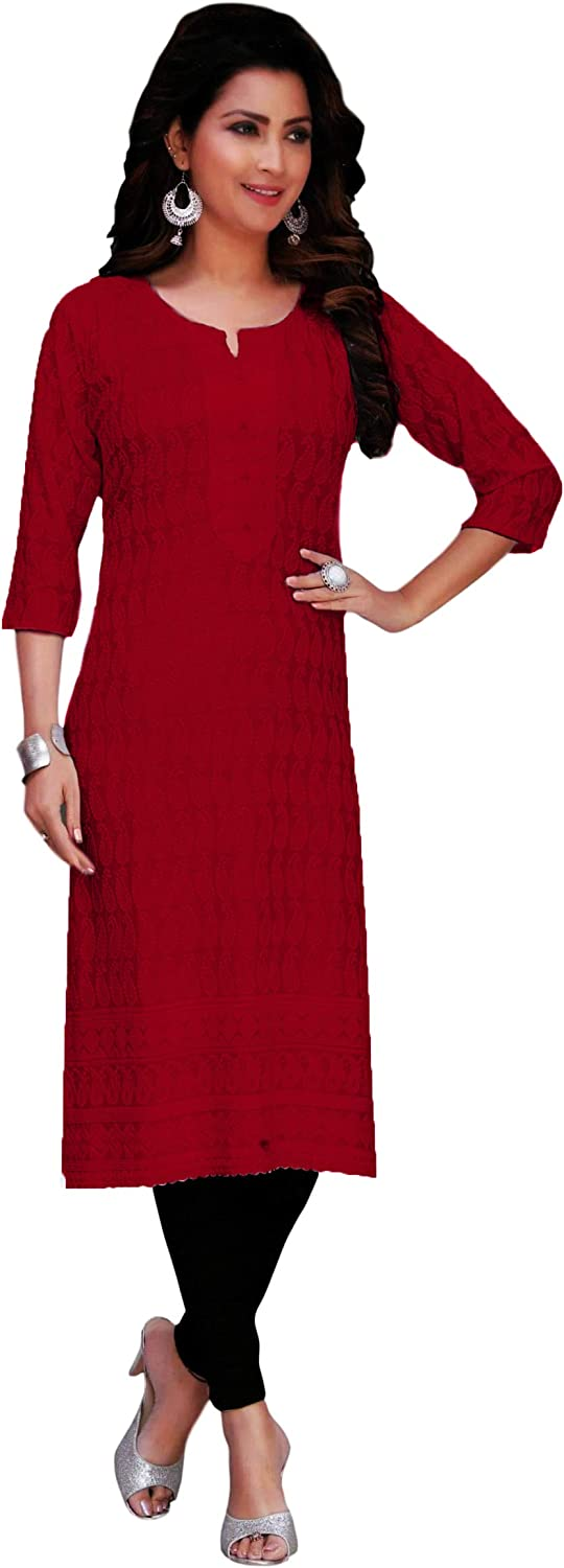 ladyline Rayon Chikhan Embroidered Kurti Top In Washington Mall Tunic Womens Direct stock discount for