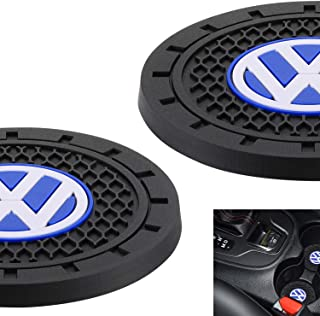 AOOOOP Car Interior Accessories for Volkswagen VW Cup Holder Insert Coaster - Silicone Anti Slip Cup Mat for VW Jetta Passat Arteon Tuguan Atlas Golf Beetle (Set of 2, 2.75