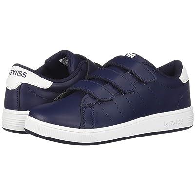 K-Swiss Clean Court 3-Strap (Little Kid) (Navy/White) Shoes