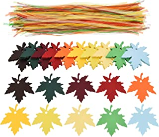 Sumind 200 Pieces Maple Leaves Gift Tags Colorful Name Tags and 200 Pieces Organza Ribbons for Christmas Fall Wedding Party Decoration