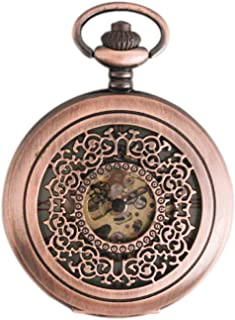 European Retro Pocket Watch, Openwork Carved Design, Transparent Dial with Metal Bracelet, Gift