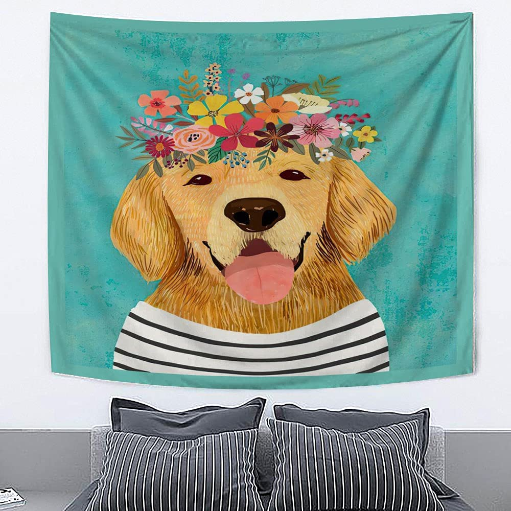 Golden Retriever Dog with Rapid rise Floral Crown Wall Hom Hanging Tapestry Limited time trial price