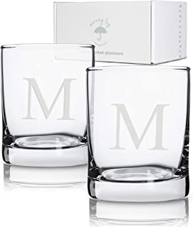 Personalized Scotch Whiskey Glasses Set of 2, Old Fashioned Barware Glassware with Sandblasted Monograms, 12.5 oz Capacity Each (M)