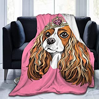Abstractpillow Blankets Queen Size,Portrait of The Cavalier King Charles Spaniel in A Princess Crown On A Pink 80x60 inch Bed Blanket and Throws