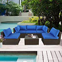 Outdoor Rattan Couch 6pcs Brown Wicker Sectional Conversation Sofa Set Lawn Garden Patio Furniture Set