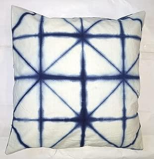 Traditional Jaipur Tie Dye Pillow, Indigo Cushion Cover 16x16, Shibori Decorative Throw Pillowcase, Indian Outdoor Cushions, Boho Pillow Sham