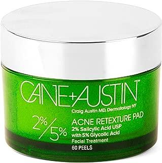 CANE + AUSTIN Acne Retexture Pad, 2% Salicylic/5% Glycolic Acid Exfoliating Face Peel, Daily Resurfacing Treatment, 60 pads