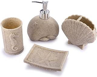 TTOYOUU 4pcs Bath Accessory Set, Stone Textured Shell Design Resin Soap Dish, Soap Dispenser,Toothbrush Holder & Tumbler Bath Ensemble Bathroom Accessory Collection Set