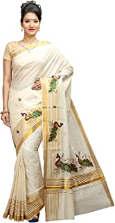 JISB Women's Kerala Kasavu Stripe border Peacock Embroidered Saree, with running blouse