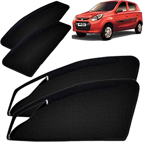Autofact Magnetic Window Sunshades/Curtains for Maruti Alto 800 (2015 Onwards) [Set of 4pc - Front 2pc with Zipper ; ...