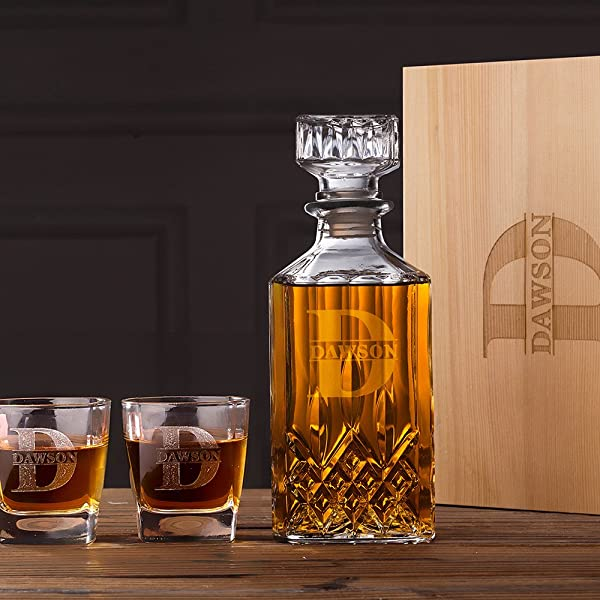Personalized Whiskey Decanter Glasses Set Wood Box Groomsmen Gifts Boyfriend Gifts For Him
