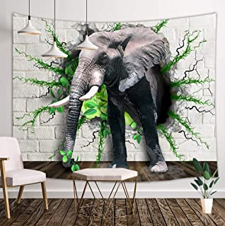 DYNH Elephant Tapestry, Africa Elephants Pass Through Forest White Brick Walls Tapestry, Mandala Tapestries Wall Hanging for Bedroom Living Room Dorm Hippie TV Backdrop Blanket 3D Print 71X60IN