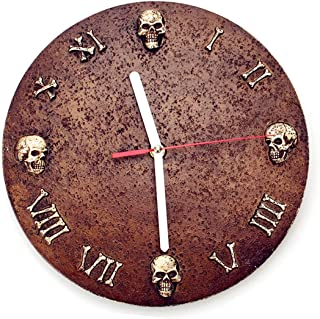 10 inch Carve Skull Dark Style Wall Clock Retro Vintage Clock Non - Ticking Whisper Quiet Battery Operated Easy to Read for Indoor Decor (Black 10')