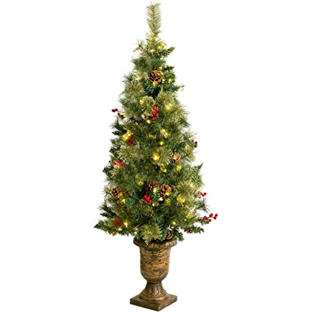 Amazon Com Asteroutdoor Pre Lit Christmas Tree 4ft Artificial Potted Fir With Lights Holly Berries Pine Cones Stands For Indoor Porch Table Xmas Holiday Decoration Easy Assembly Home Kitchen