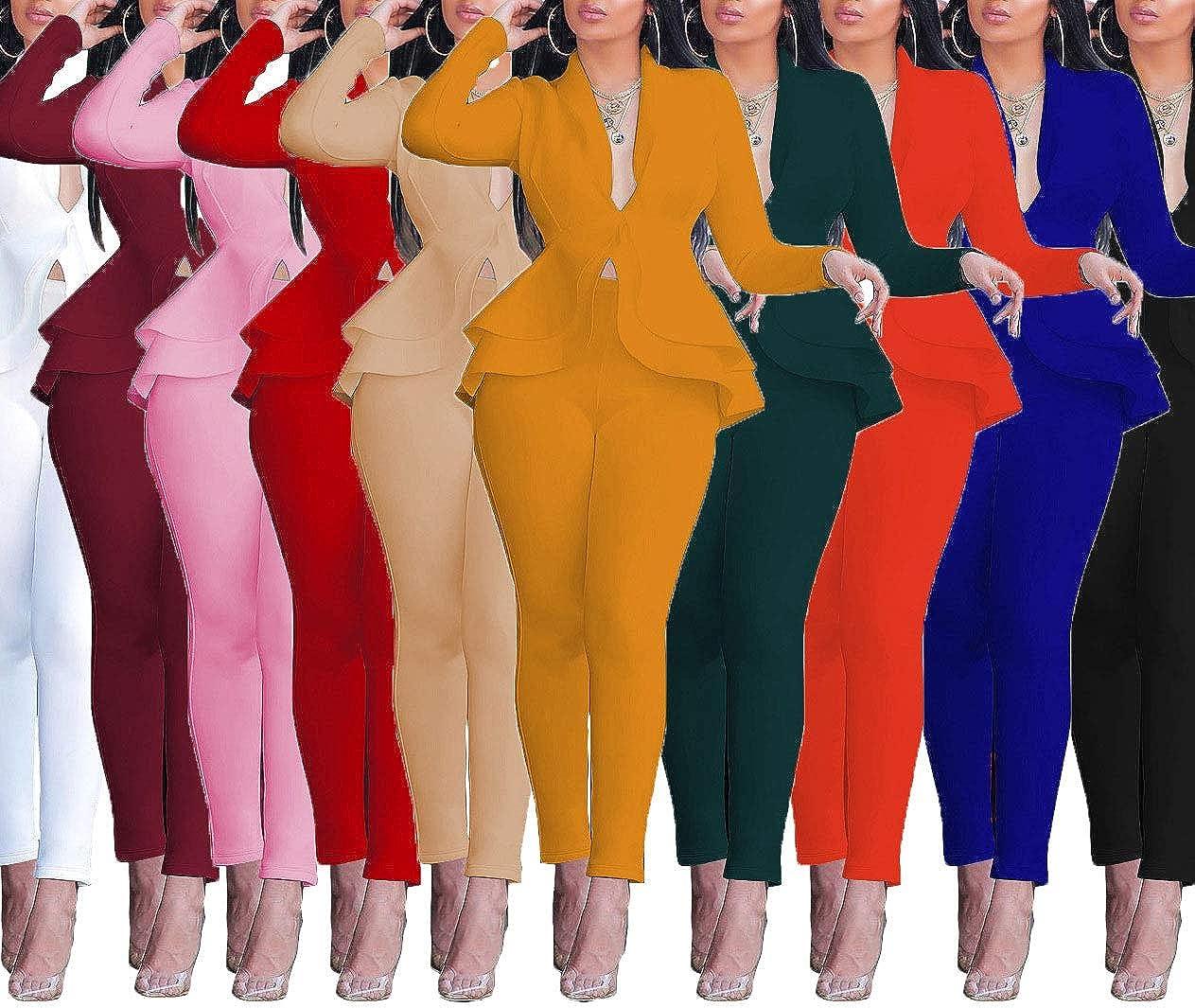 Women Sexy V Neck Long Sleeve Ruffle Hem Blazer Jacket Slim Fit Long Pants Set Party Clubwear Suits