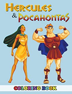Hercules and Pocahontas Coloring Book: 2 in 1 Coloring Book for Kids and Adults, Activity Book, Great Starter Book for Children with Fun, Easy, and Relaxing Coloring Pages