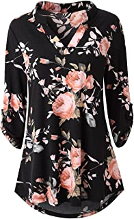 Zattcas Womens Floral Printed Tunic Shirts 3/4 Roll...