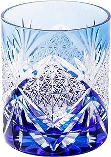 江戸切子 菊繋ぎ紋 オールドグラス(ルリ)TB52161B 木箱入り 太武朗工房直販 日本製