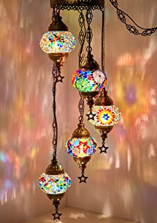 (Choose from 12 Designs) Turkish Moroccan Mosaic Glass Chandelier Lights Hanging Ceiling Lamps (Medium - 4)
