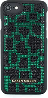 Karen Millen Fashion Premium Quality Acrylic Gems Inlay Shell for iPhone 8/7 - Green/Black