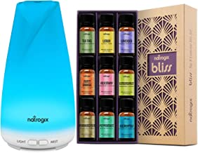 Natrogix Bliss Box - Bliss + Totem Set – Including Top 9 100% Essential Oils Set (9x10ml) and 150 ML Essential Oil Diffuser – Solution for Your Aromatherapy Life