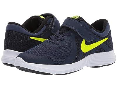 Nike Kids Revolution 4 (Little Kid) (Midnight Navy/Volt/Black/White) Boys Shoes