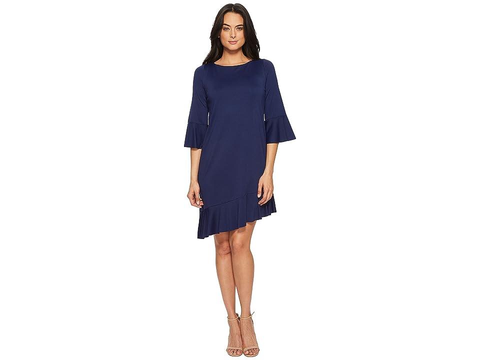 Susana Monaco Cecelie Ruffle Edge Dress (Deep Sea) Women