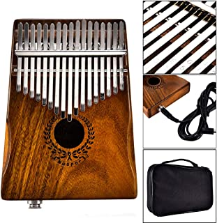 Ronshin 17 Keys EQ kalimba Acacia Thumb Piano Link Speaker Electric Pickup with Bag Cable