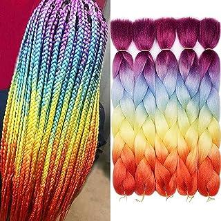 Ombre Colors Braid Kanekalon Hair 5pcs موهای زائد مصنوعی Afro Braiding مو 24 اینچ 4 تن برای زنان توری قلاب دوزی قلاب 100 گرم (# 60 رنگین کمان)