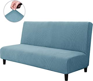 CHUN YI Armless Sofa Slipcover Elastic Fitted Full Folding Sofa Bed Cover Without Armrests,Removable Machine Washable Non-Slip Furniture Protector for Futon Couch Bench (Sofa, Smoky Blue)