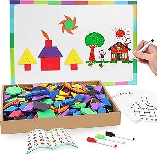 Joy Dynasty 190 Pcs Magnetic Pattern Blocks Set Geometric Manipulative Shape Puzzle Educational Montessori Tangram Learnin...