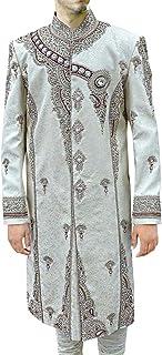 INMONARCH Mens Cream 2 Pc Sherwani Royal Groom Designer SH0483Z