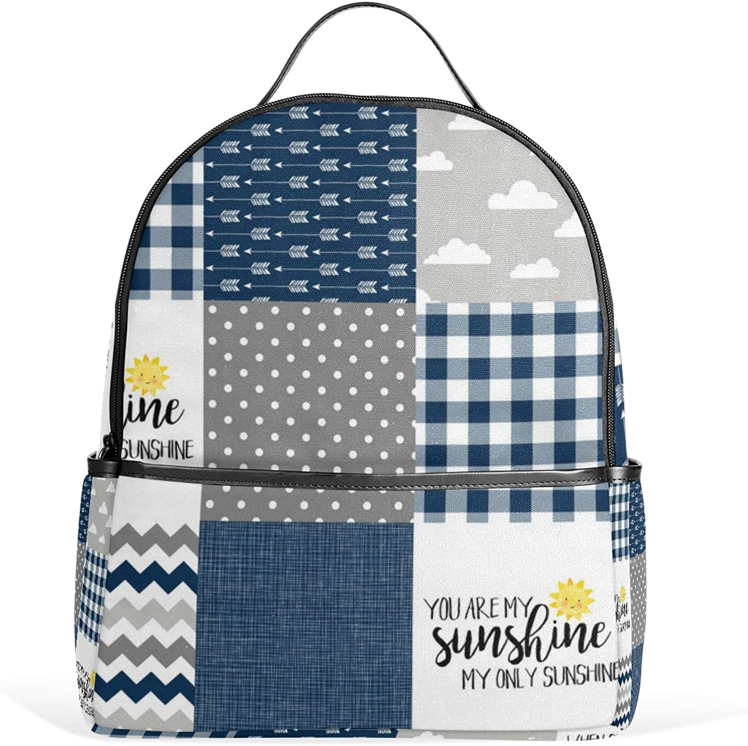 Modified You Sunshinenavyplaid Wholecloth Cheater Quilt Backpack for Men Women Back Pack Shoulder Bag Daypacks Teenagers's Travel bagpacks Casual Daypack for Travel