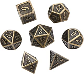 BFVV D&D Dice Set Ancient Design Dice 7PCS Bronze Metal Dice with Metal Box for Table Games, Dungeons and Dragons, Shadowrun, Pathfinder, Savage World