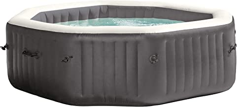 Intex 28417WL PureSpa 6 Person Fiber-Tech Construction Portable Octagonal Inflatable Hot Tub Spa with 140 Bubble Jets, Gray