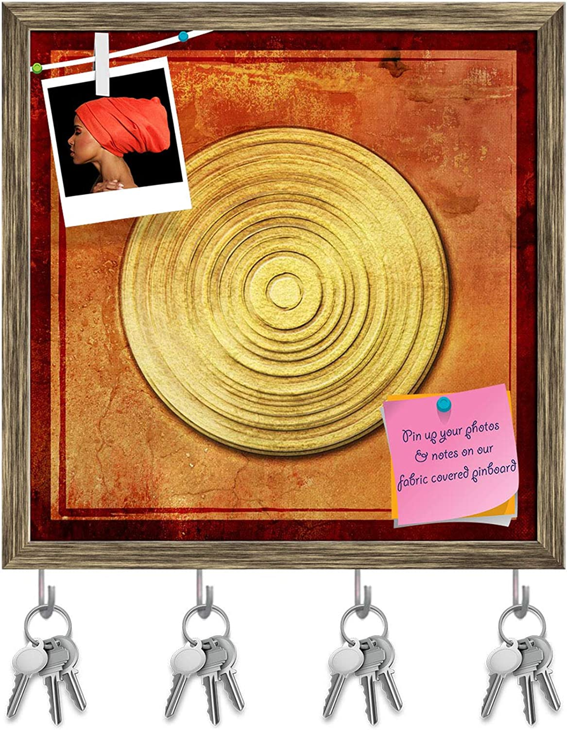 Artzfolio Abstract Asian golden Background D2 Key Holder Hooks   Notice Pin Board   Antique golden Frame 16 X 16.1Inch