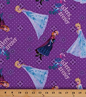 Cotton Disney Frozen Characters Anna Elsa Princesses Princess Sisters Forever Purple Kids Cotton Fabric Print by The Yard (49459-D430715)