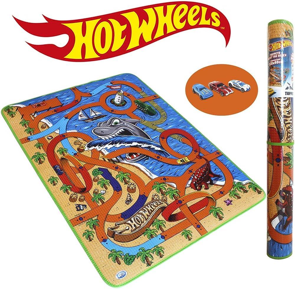 Ods, tappeto gioco hot wheels mattel, day at the beach, con auto inclusa 42029