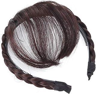 FRCOLOR Frcolor 前髪ウィッグ 三つ編みウィッグ付 エアリーバング 空気感 カチューシャ ぱっちんクリップ ヘアバンド レディース 髪飾り ヘアアクセサリー 部分ウィッグ(ダークブラウン) 約15 x 13 x 1.8cm