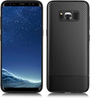 Slim Case Fit Samsung Galaxy S8 Plus,Feimeng [Carbon Fiber Texture Design] Ultra Thin&Durable Light Shockproof Cover Full Protective Shell Soft TPU Silicone Gel Bumper Case for Galaxy S8 Plus (Black)